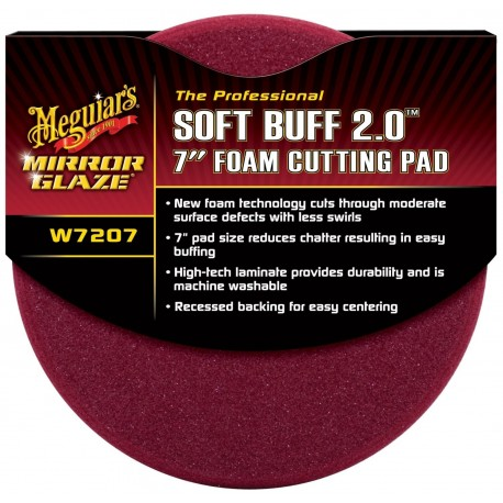 "Meguiar's W7207 Mirror Glaze Professional Soft Buff 2.0 7"" Foam Cutting Pad"